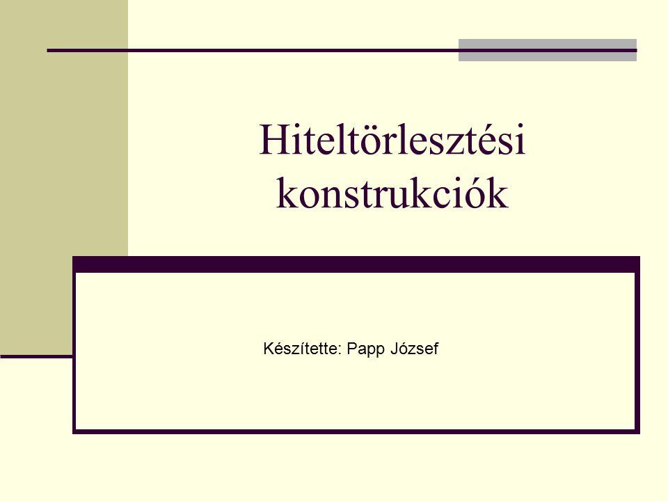 Hiteltörlesztési konstrukciók Készítette: Papp József