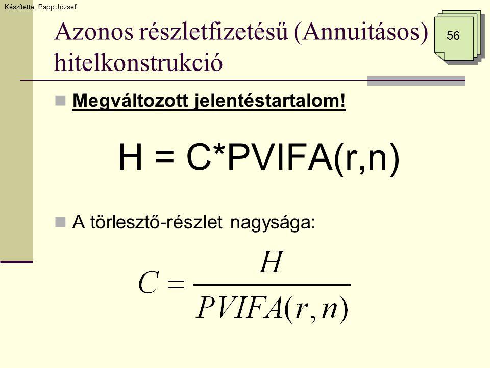 Azonos részletfizetésű (Annuitásos) hitelkonstrukció Megváltozott jelentéstartalom! H = C*PVIFA(r,n) A törlesztő-részlet nagysága: Készítette: Papp Jó
