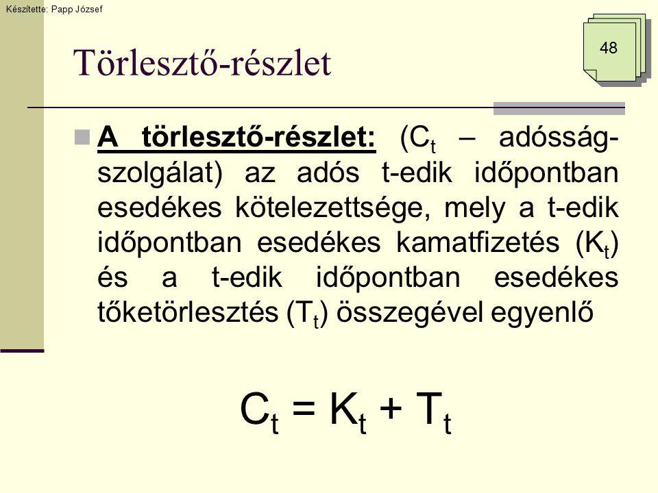 Törlesztő-részlet A törlesztő-részlet: (C t – adósság- szolgálat) az adós t-edik időpontban esedékes kötelezettsége, mely a t-edik időpontban esedékes kamatfizetés (K t ) és a t-edik időpontban esedékes tőketörlesztés (T t ) összegével egyenlő C t = K t + T t Készítette: Papp József 48