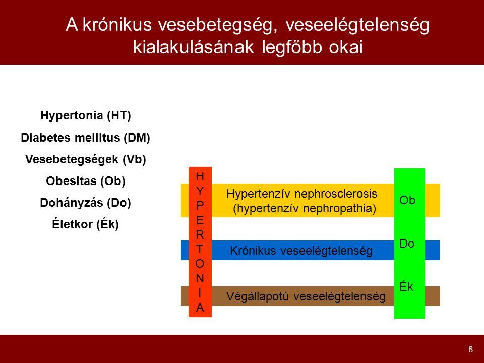 8 A krónikus vesebetegség, veseelégtelenség kialakulásának legfőbb okai Hypertonia (HT) Diabetes mellitus (DM) Vesebetegségek (Vb) Obesitas (Ob) Dohán