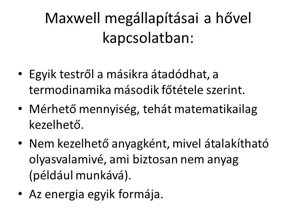Maxwell megállapításai a hővel kapcsolatban: Egyik testről a másikra átadódhat, a termodinamika második főtétele szerint. Mérhető mennyiség, tehát mat