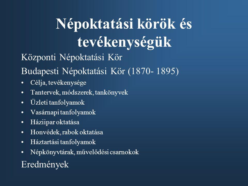 Népoktatási körök és tevékenységük Központi Népoktatási Kör Budapesti Népoktatási Kör (1870- 1895) Célja, tevékenysége Tantervek, módszerek, tankönyvek Üzleti tanfolyamok Vasárnapi tanfolyamok Háziipar oktatása Honvédek, rabok oktatása Háztartási tanfolyamok Népkönyvtárak, művelődési csarnokok Eredmények