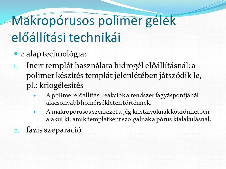Makropórusos polimer gélek előállítási technikái 2 alap technológia: 1. Inert templát használata hidrogél előállításnál: a polimer készítés templát je
