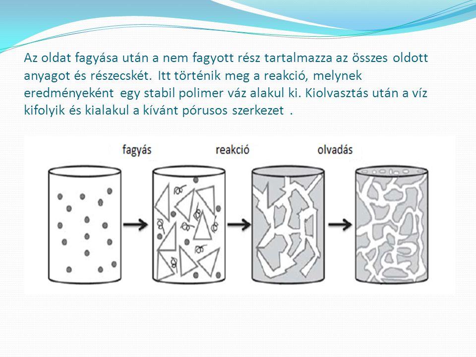 Az oldat fagyása után a nem fagyott rész tartalmazza az összes oldott anyagot és részecskét.