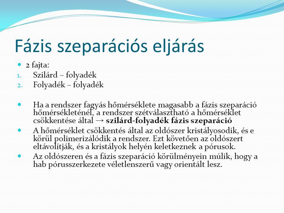 Fázis szeparációs eljárás 2 fajta: 1.Szilárd – folyadék 2.