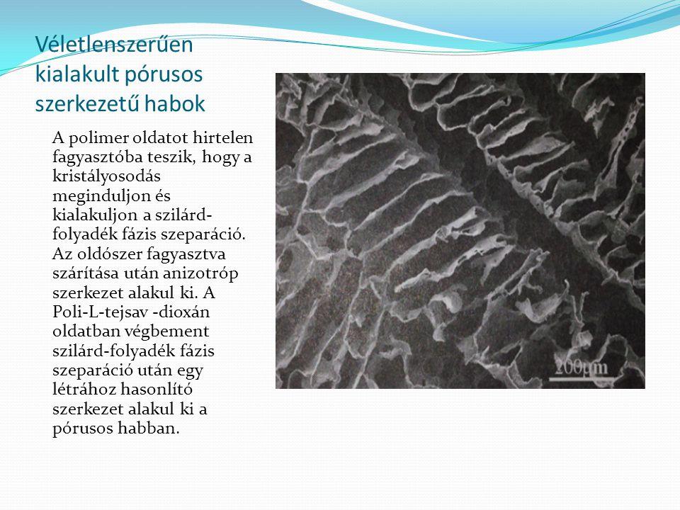 Véletlenszerűen kialakult pórusos szerkezetű habok A polimer oldatot hirtelen fagyasztóba teszik, hogy a kristályosodás meginduljon és kialakuljon a s