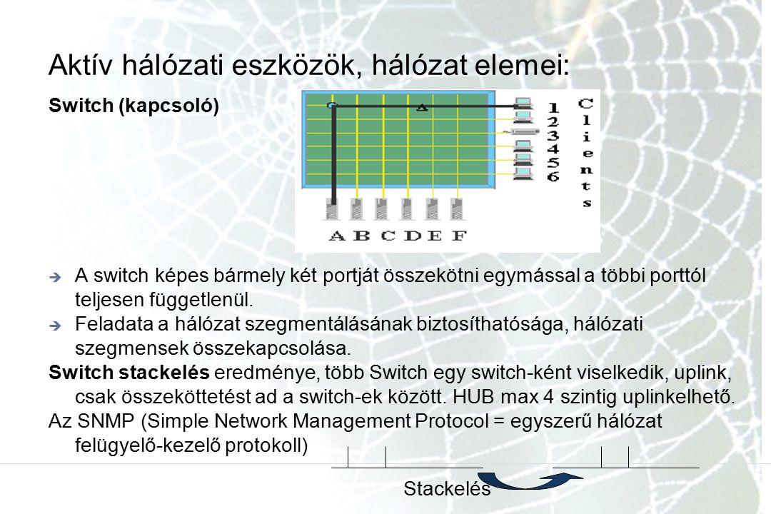 Aktív hálózati eszközök, hálózat elemei: Switch (kapcsoló)  A switch képes bármely két portját összekötni egymással a többi porttól teljesen függetle