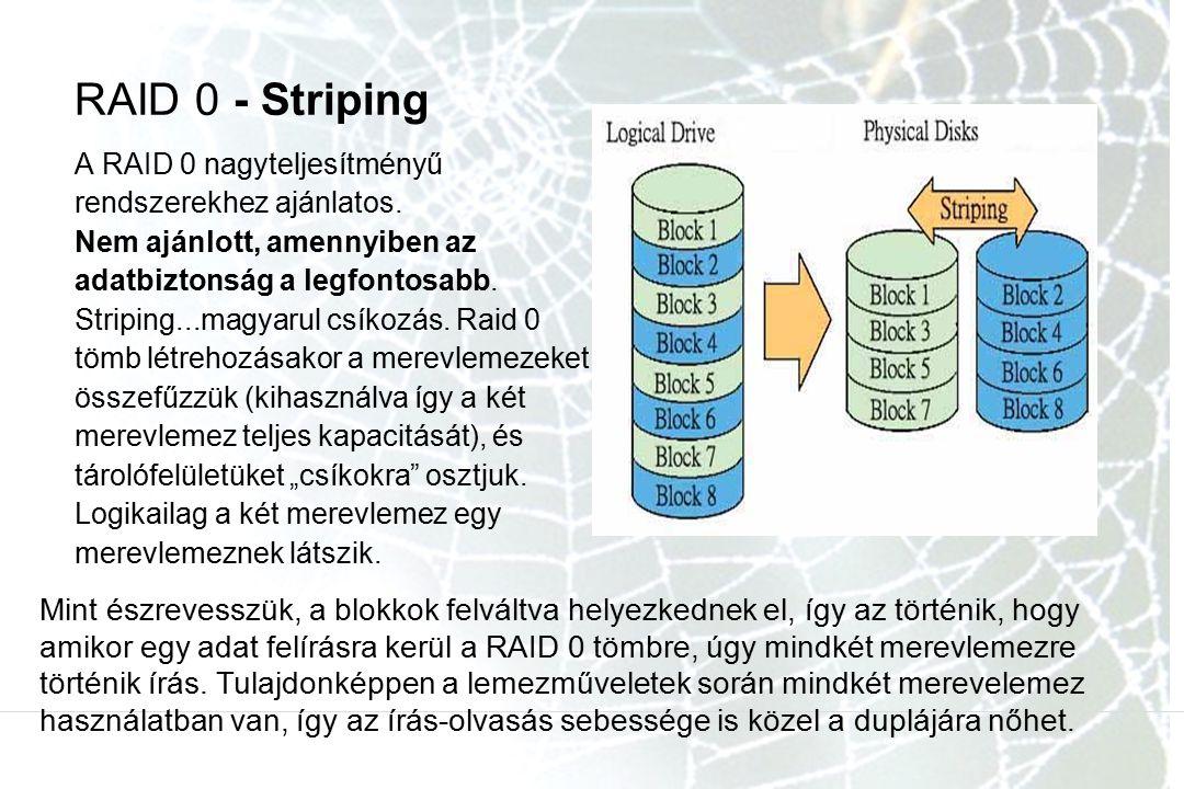 RAID 0 - Striping A RAID 0 nagyteljesítményű rendszerekhez ajánlatos. Nem ajánlott, amennyiben az adatbiztonság a legfontosabb. Striping...magyarul cs