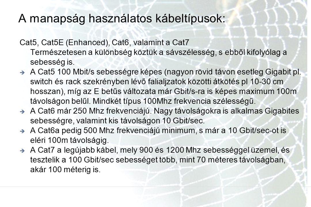 A manapság használatos kábeltípusok: Cat5, Cat5E (Enhanced), Cat6, valamint a Cat7 Természetesen a különbség köztük a sávszélesség, s ebből kifolyólag