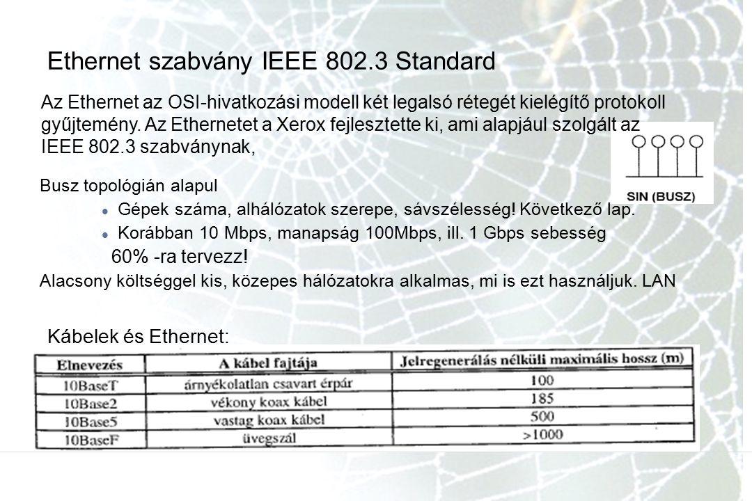 Ethernet szabvány IEEE 802.3 Standard Busz topológián alapul Gépek száma, alhálózatok szerepe, sávszélesség! Következő lap. Korábban 10 Mbps, manapság