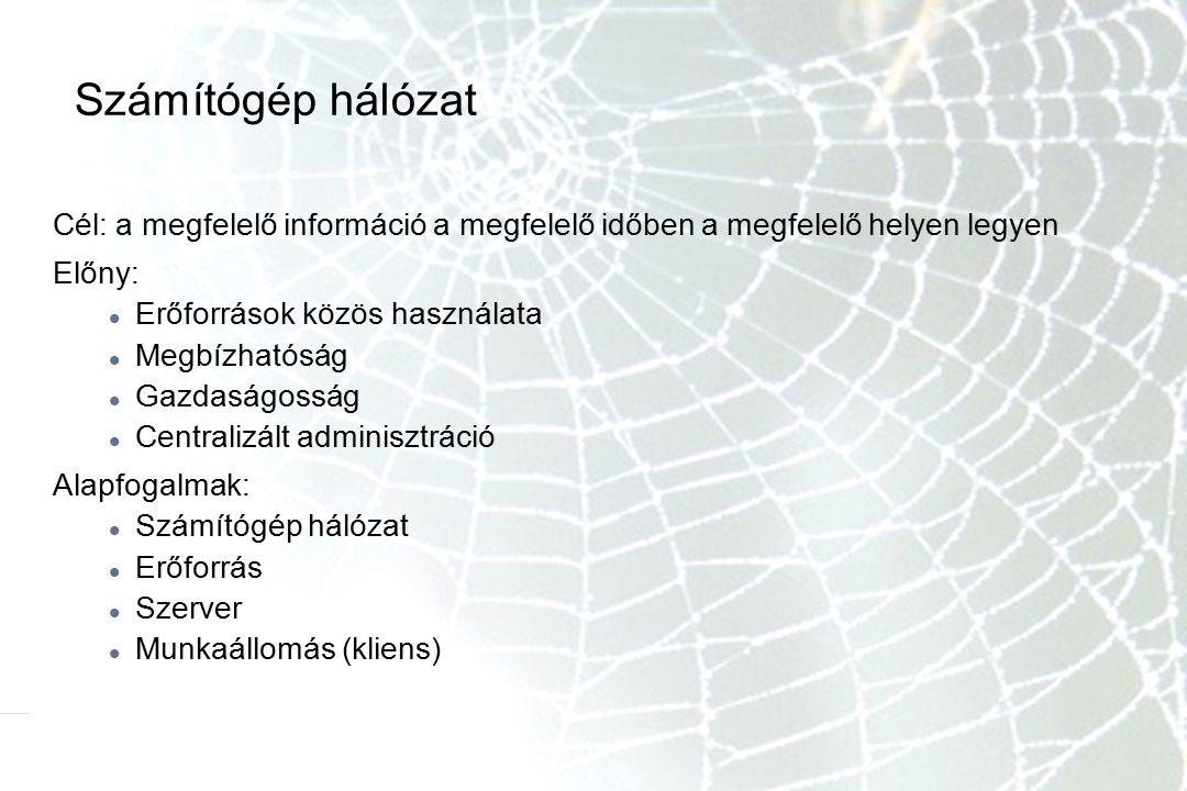 Számítógép hálózat Cél: a megfelelő információ a megfelelő időben a megfelelő helyen legyen Előny: Erőforrások közös használata Megbízhatóság Gazdaság