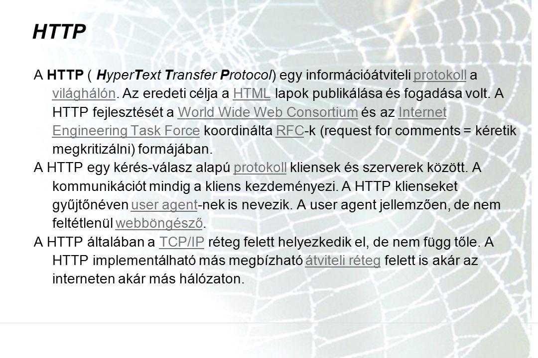 HTTP A HTTP ( HyperText Transfer Protocol) egy információátviteli protokoll a világhálón. Az eredeti célja a HTML lapok publikálása és fogadása volt.