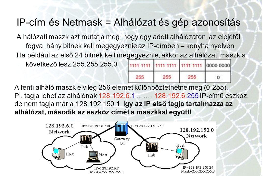 IP-cím és Netmask = Alhálózat és gép azonosítás A hálózati maszk azt mutatja meg, hogy egy adott alhálózaton, az elejétől fogva, hány bitnek kell mege