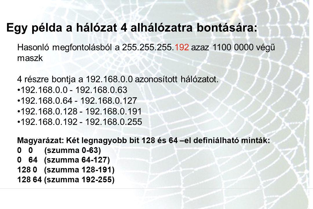 Egy példa a hálózat 4 alhálózatra bontására: Hasonló megfontolásból a 255.255.255.192 azaz 1100 0000 végű maszk 4 részre bontja a 192.168.0.0 azonosít