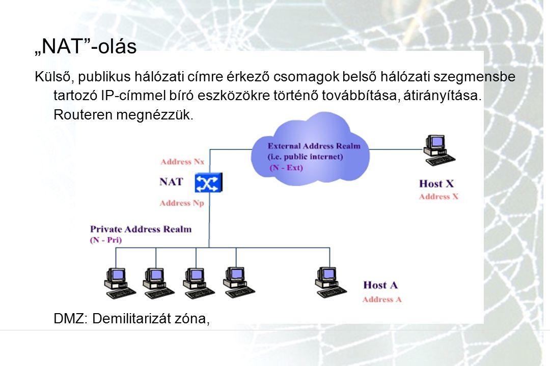 """""""NAT""""-olás Külső, publikus hálózati címre érkező csomagok belső hálózati szegmensbe tartozó IP-címmel bíró eszközökre történő továbbítása, átirányítás"""