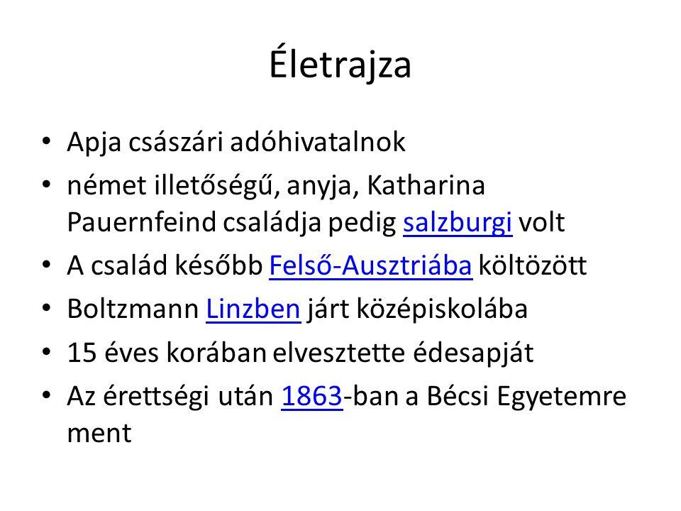 Életrajza Apja császári adóhivatalnok német illetőségű, anyja, Katharina Pauernfeind családja pedig salzburgi voltsalzburgi A család később Felső-Ausztriába költözöttFelső-Ausztriába Boltzmann Linzben járt középiskolábaLinzben 15 éves korában elvesztette édesapját Az érettségi után 1863-ban a Bécsi Egyetemre ment1863
