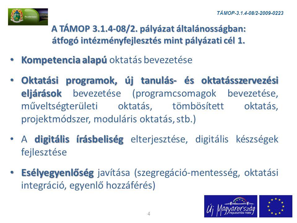 A TÁMOP 3.1.4-08/2. pályázat általánosságban: átfogó intézményfejlesztés mint pályázati cél 1.
