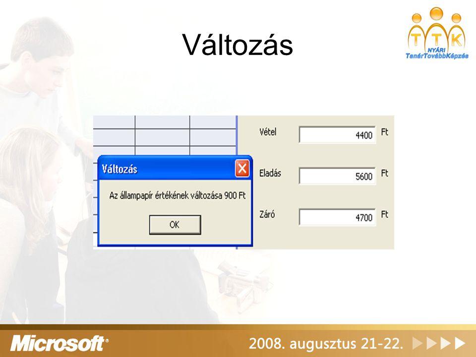 Programkód A Valtoz függvény kiszámolja az eladás és záróérték különbségét Private Function Valtoz() As Double Valtoz = _ Val(Eladas.Text) - Val(Zaro.Text) End Function A Változás nyomógombra kattintva kiírja a az eredményt Private Sub Valtozas_Click() MsgBox Az állampapír értékének változása & _ FormatCurrency(Valtoz,0), vbOKOnly, Változás End Sub