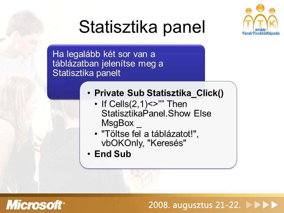 """Statisztika panel Ha legalább két sor van a táblázatban jelenítse meg a Statisztika panelt Private Sub Statisztika_Click() If Cells(2,1)<>"""""""" Then Stat"""