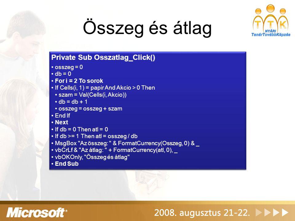 Összeg és átlag Private Sub Osszatlag_Click() osszeg = 0 db = 0 For i = 2 To sorok If Cells(i, 1) = papir And Akcio > 0 Then szam = Val(Cells(i, Akcio