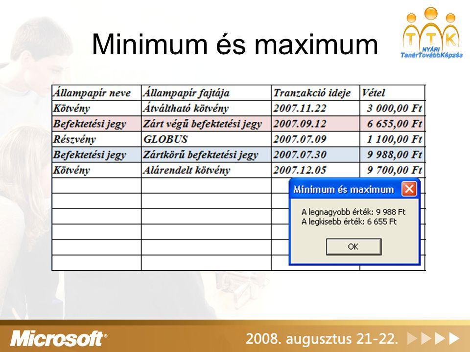 Minimum és maximum