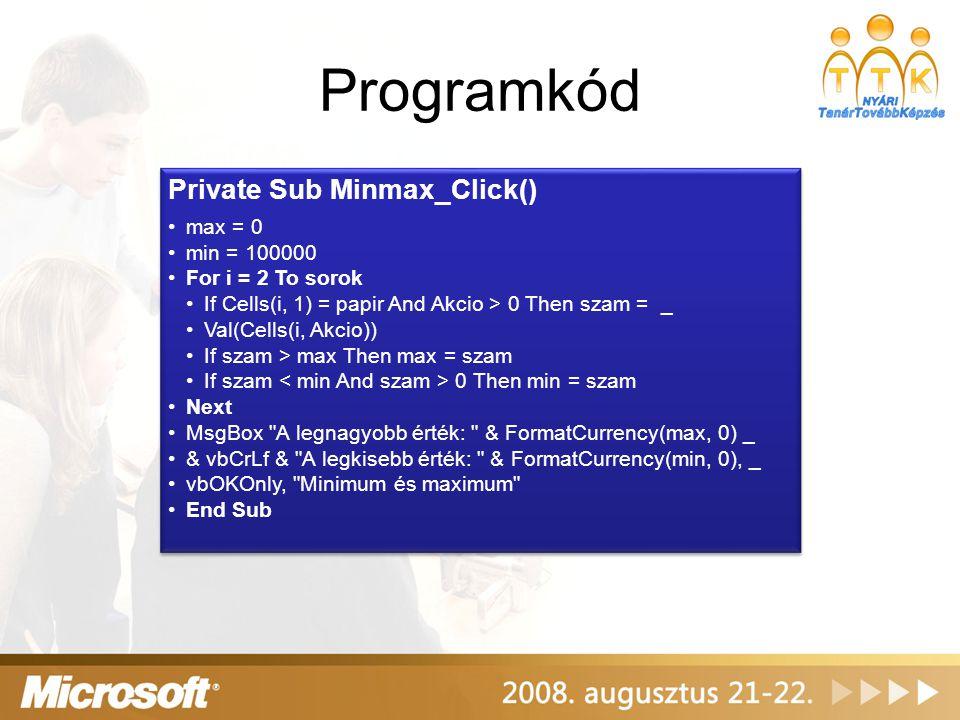 Programkód Private Sub Minmax_Click() max = 0 min = 100000 For i = 2 To sorok If Cells(i, 1) = papir And Akcio > 0 Then szam = _ Val(Cells(i, Akcio))