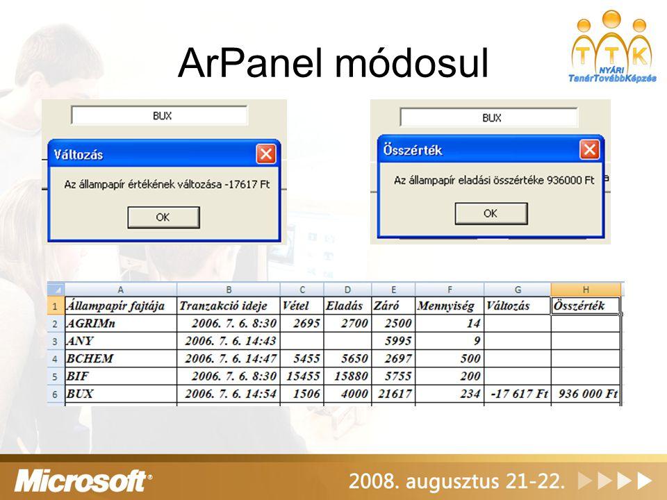 ArPanel módosul
