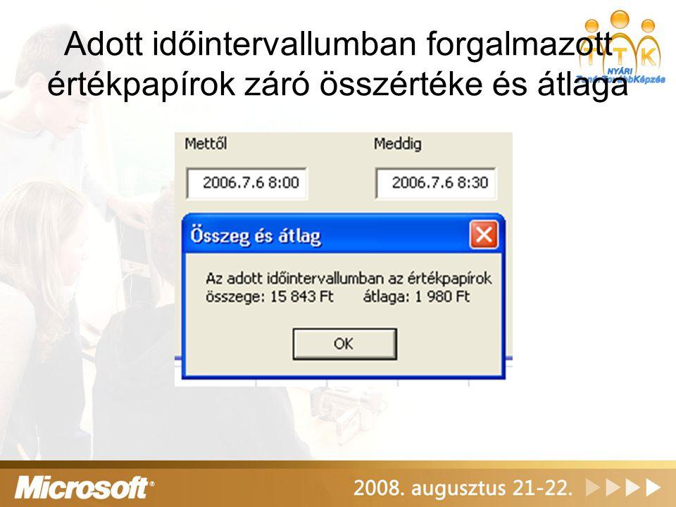 Programkód Private Sub Osszegatlag_Click() mettol = CDate(Tol.Text) meddig = CDate(Ig.Text) db = 0 ossz = 0 For i = 2 To sorok If Cells(i, 2) >= mettol And Cells(i, 2) 0 Then szam = Val(Cells(i, Akcio)) mennyiseg = Val(Cells(i, 6)) ossz = ossz + szam * mennyiseg db = db + 1 End If Next If db = 0 Then atl = 0 If db >= 1 Then atl = ossz / db MsgBox Az adott időintervallumban az értékpapírok & vbCrLf & összege: &FormatCurrency(ossz, 0) & átlaga: & FormatCurrency(atl, 0), vbOKOnly, Összeg és átlag End Sub
