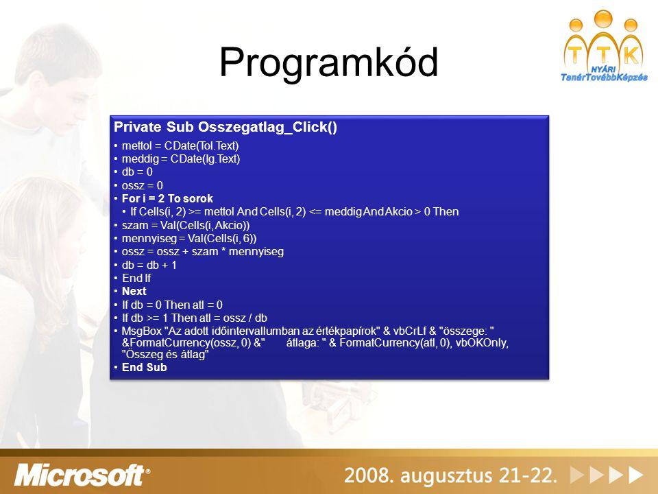 Programkód Private Sub Osszegatlag_Click() mettol = CDate(Tol.Text) meddig = CDate(Ig.Text) db = 0 ossz = 0 For i = 2 To sorok If Cells(i, 2) >= metto