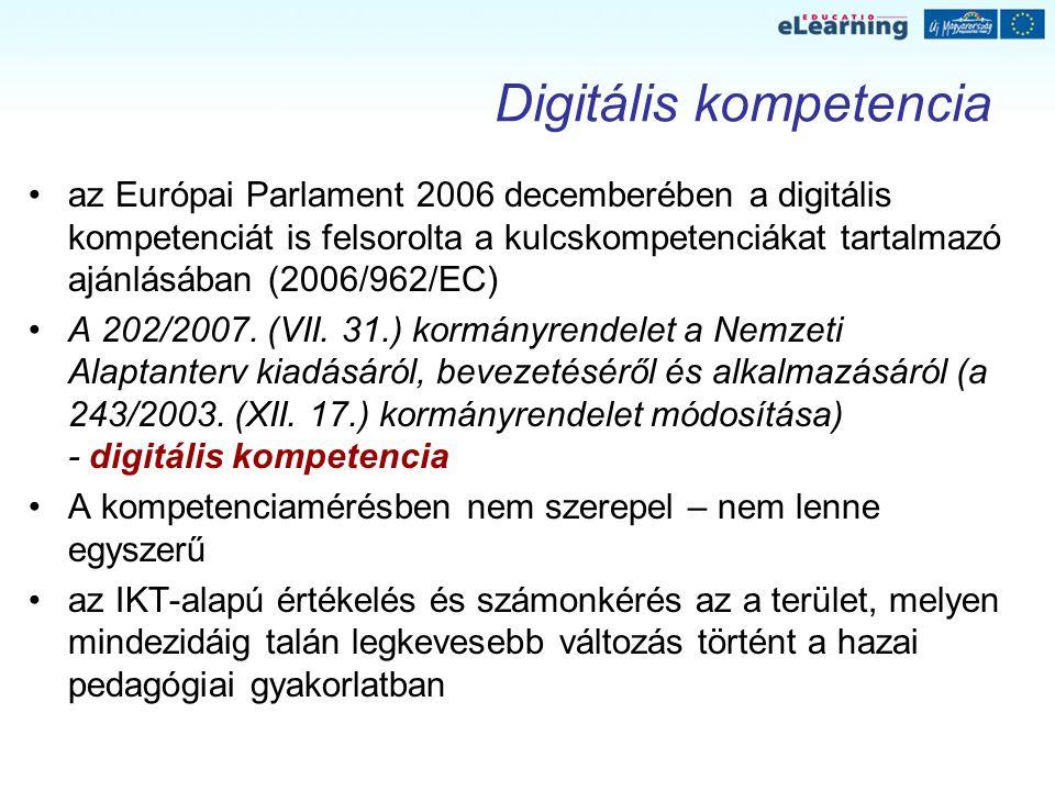 Digitális kompetencia az Európai Parlament 2006 decemberében a digitális kompetenciát is felsorolta a kulcskompetenciákat tartalmazó ajánlásában (2006