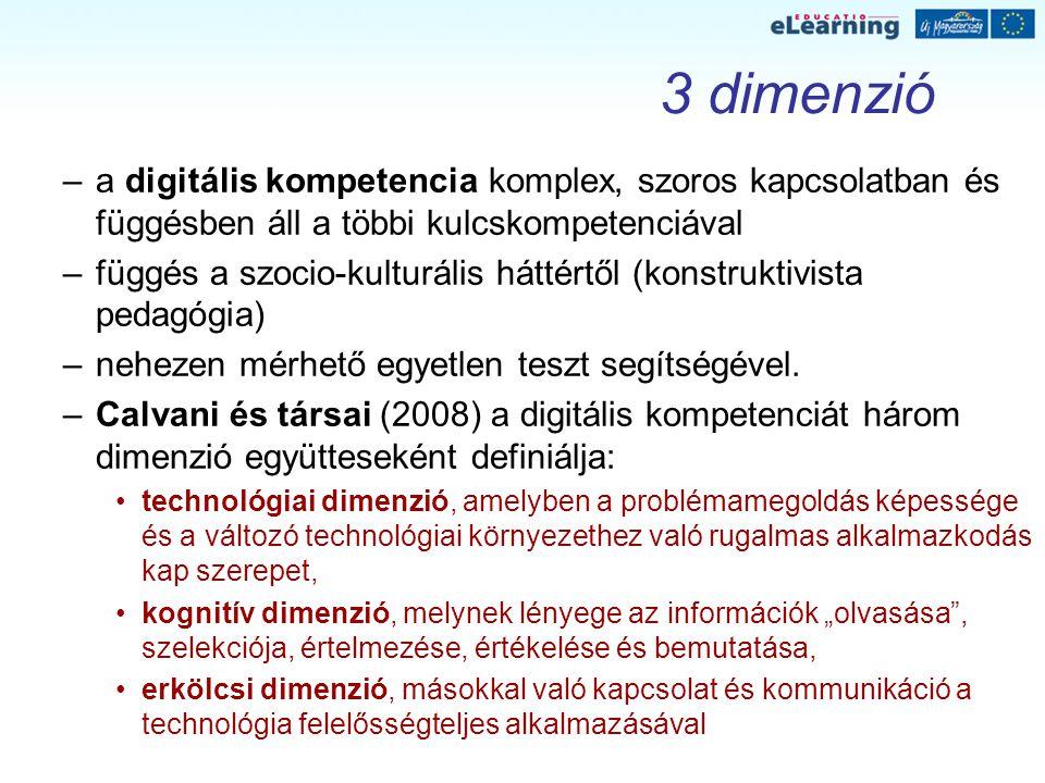 3 dimenzió –a digitális kompetencia komplex, szoros kapcsolatban és függésben áll a többi kulcskompetenciával –függés a szocio-kulturális háttértől (k