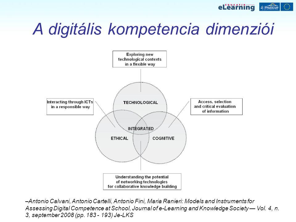 A digitális kompetencia dimenziói –Antonio Calvani, Antonio Cartelli, Antonio Fini, Maria Ranieri: Models and Instruments for Assessing Digital Compet