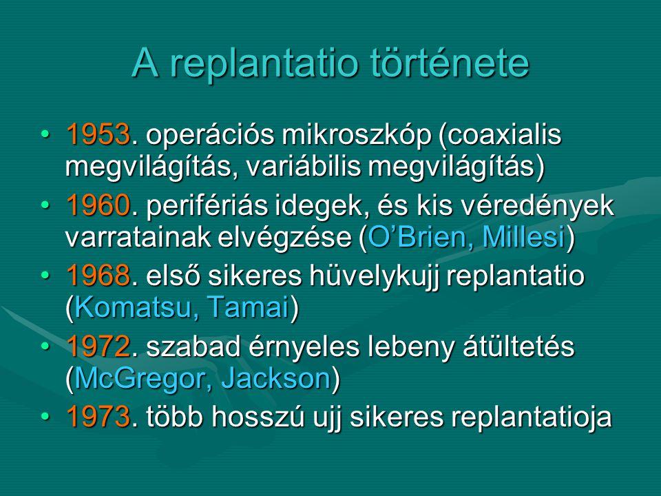 Replantatio Replantationak nevezzük, ha teljesen vagy subtotalisan amputált végtag vagy végtagrész vérkeringés nélkül maradt, és a túlélése csak a vérkeringés helyreállításával, eranastomosisokkal biztosítható.