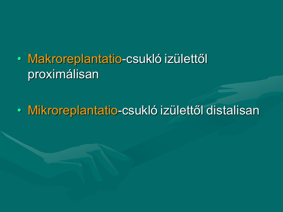 Makroreplantatio-csukló izülettől proximálisanMakroreplantatio-csukló izülettől proximálisan Mikroreplantatio-csukló izülettől distalisanMikroreplantatio-csukló izülettől distalisan