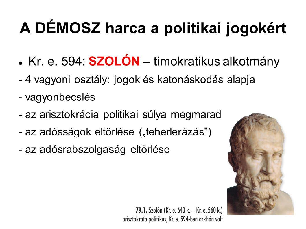 A DÉMOSZ harca a politikai jogokért Kr. e. 594: SZOLÓN – timokratikus alkotmány - 4 vagyoni osztály: jogok és katonáskodás alapja - vagyonbecslés - az