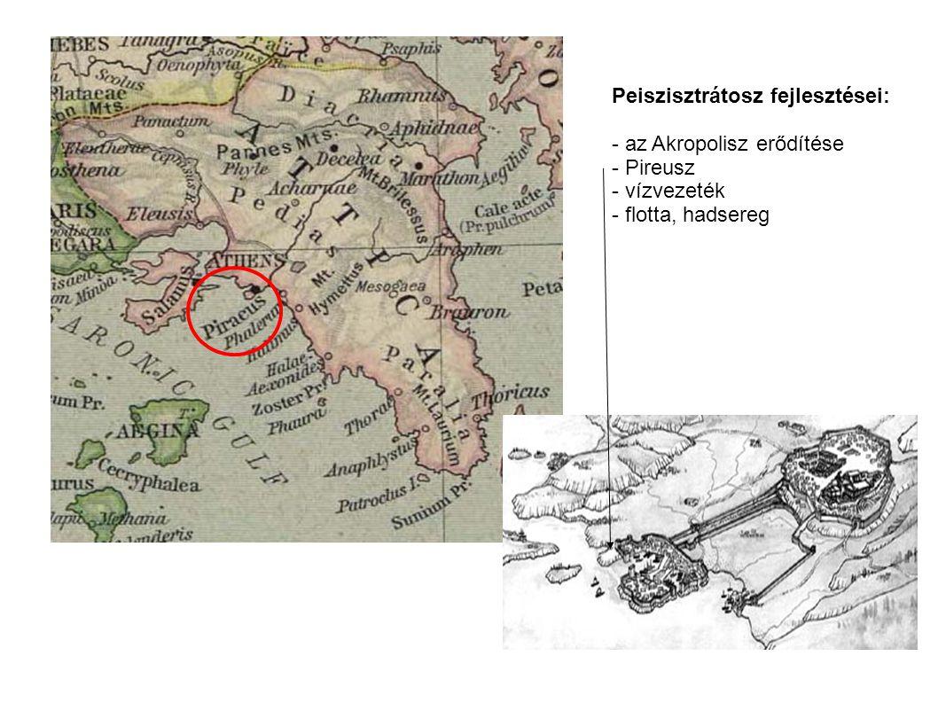 Peiszisztrátosz fejlesztései: - az Akropolisz erődítése - Pireusz - vízvezeték - flotta, hadsereg