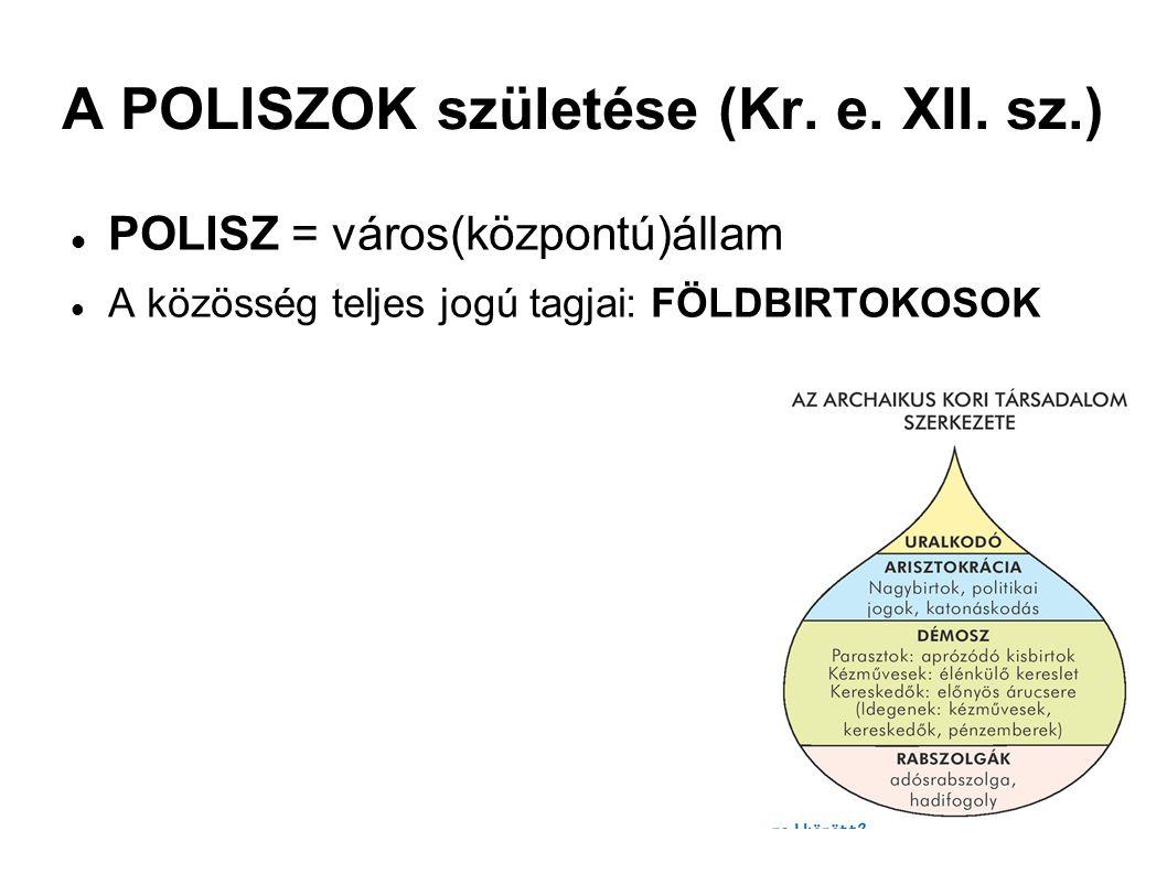 A POLISZOK születése (Kr. e. XII. sz.) POLISZ = város(központú)állam A közösség teljes jogú tagjai: FÖLDBIRTOKOSOK