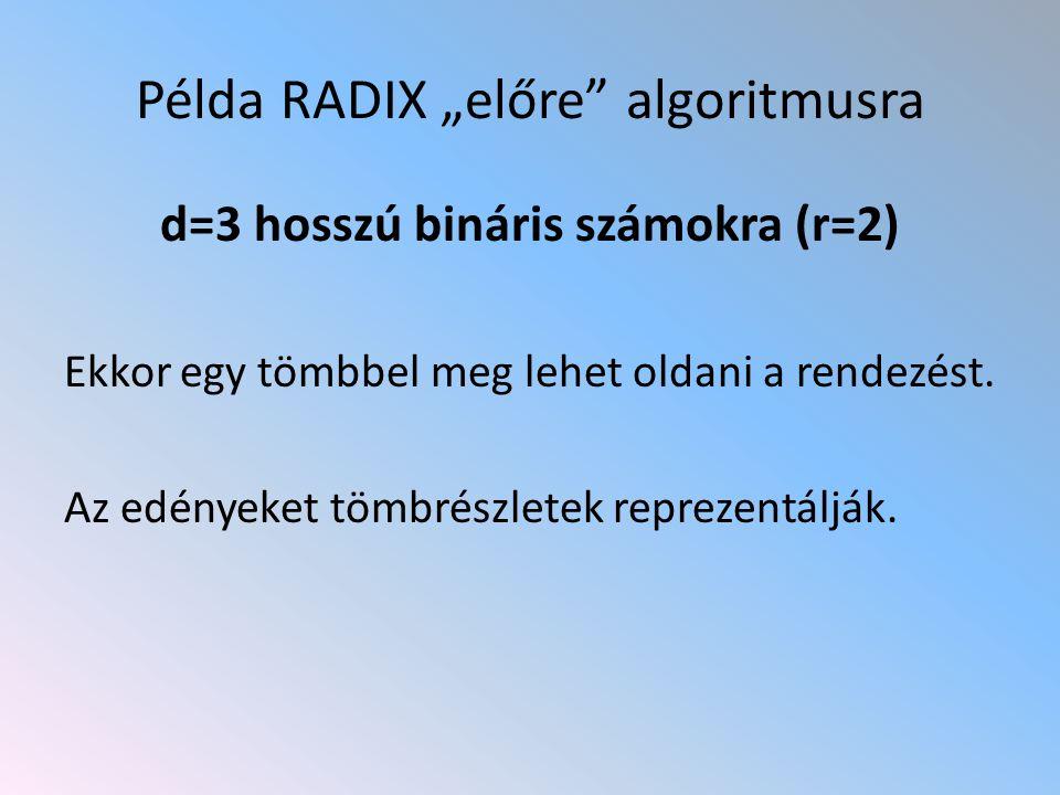 """Példa RADIX """"előre"""" algoritmusra d=3 hosszú bináris számokra (r=2) Ekkor egy tömbbel meg lehet oldani a rendezést. Az edényeket tömbrészletek reprezen"""