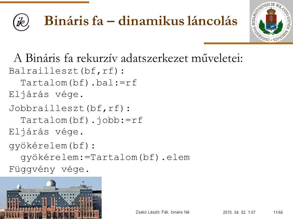 Bináris fa – dinamikus láncolás Zsakó László: Fák, bináris fák A Bináris fa rekurzív adatszerkezet műveletei: Balrailleszt(bf,rf): Tartalom(bf).bal:=r