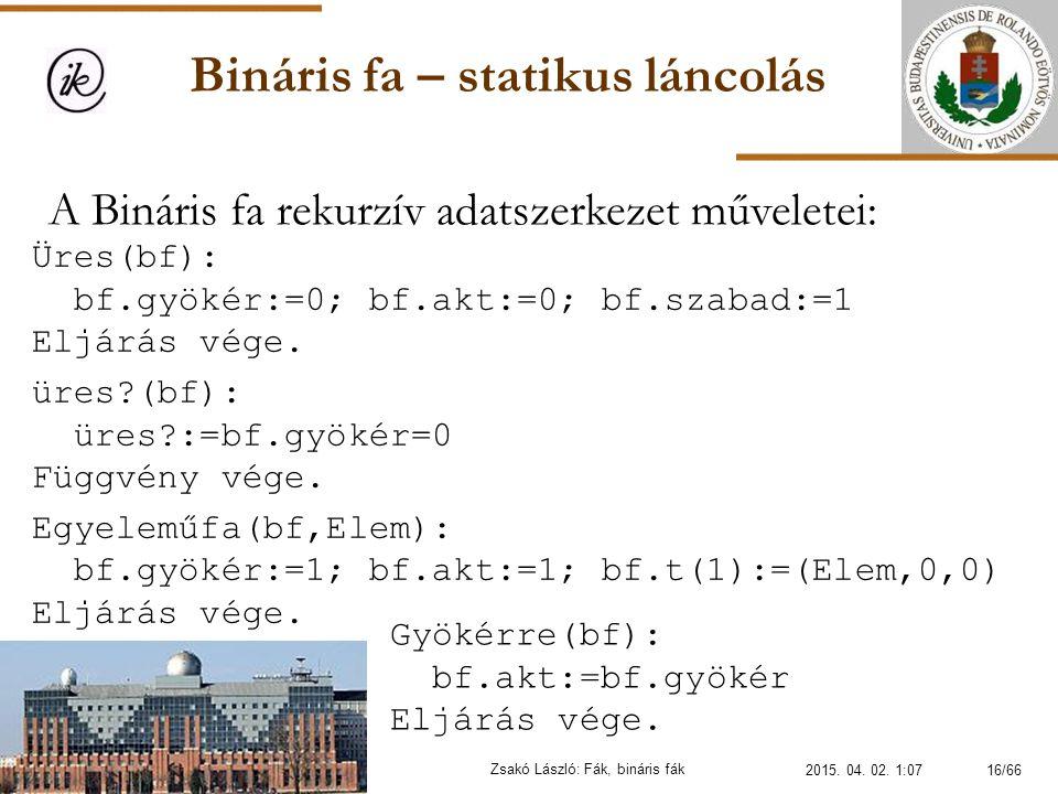 Bináris fa – statikus láncolás Zsakó László: Fák, bináris fák A Bináris fa rekurzív adatszerkezet műveletei: Üres(bf): bf.gyökér:=0; bf.akt:=0; bf.sza