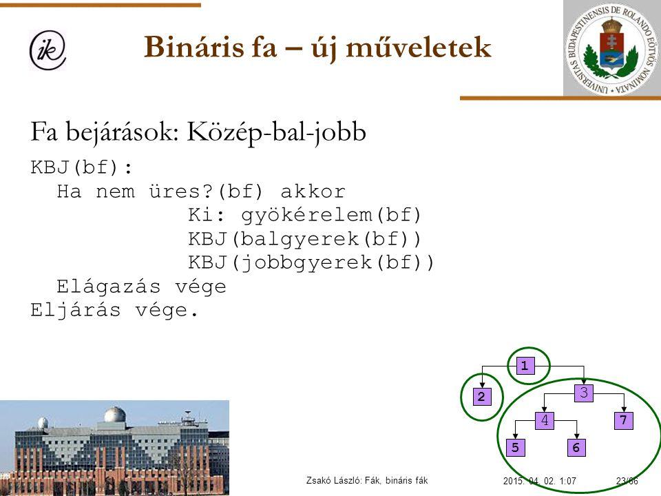Bináris fa – új műveletek Zsakó László: Fák, bináris fák Fa bejárások: Közép-bal-jobb KBJ(bf): Ha nem üres?(bf) akkor Ki: gyökérelem(bf) KBJ(balgyerek