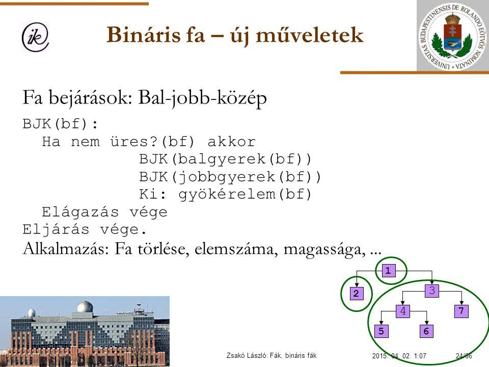 Bináris fa – új műveletek Zsakó László: Fák, bináris fák Fa bejárások: Bal-jobb-közép BJK(bf): Ha nem üres?(bf) akkor BJK(balgyerek(bf)) BJK(jobbgyere