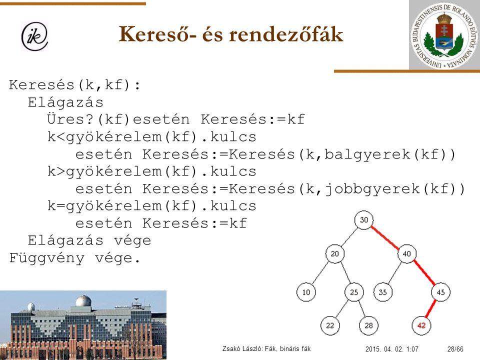 Kereső- és rendezőfák Zsakó László: Fák, bináris fák Keresés(k,kf): Elágazás Üres?(kf)eseténKeresés:=kf k gyökérelem(kf).kulcs esetén Keresés:=Keresés