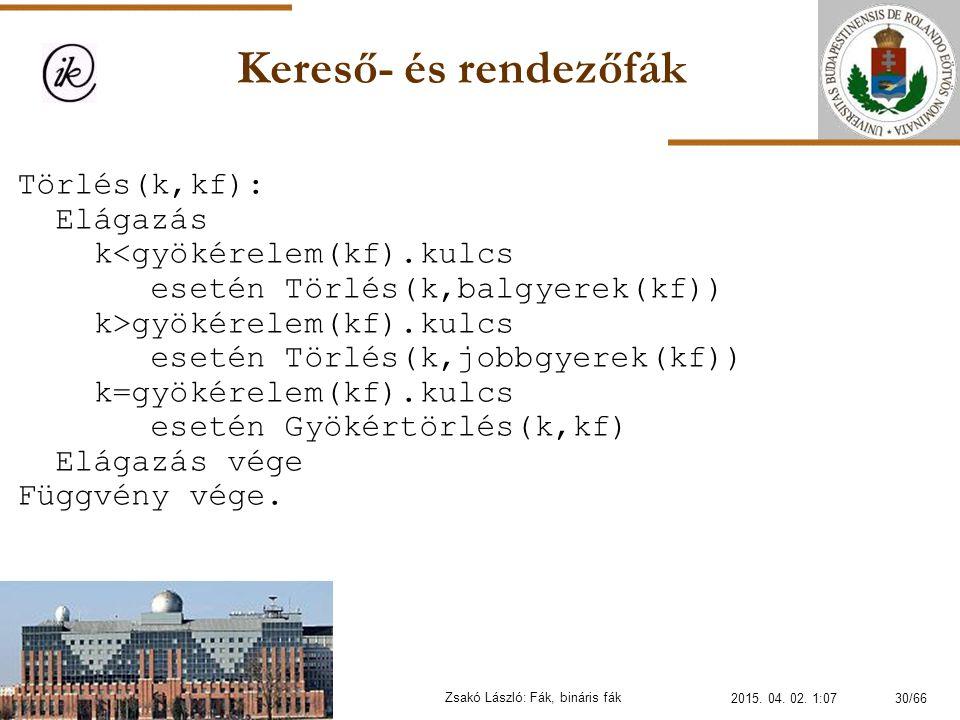 Kereső- és rendezőfák Zsakó László: Fák, bináris fák Törlés(k,kf): Elágazás k gyökérelem(kf).kulcs esetén Törlés(k,jobbgyerek(kf)) k=gyökérelem(kf).ku