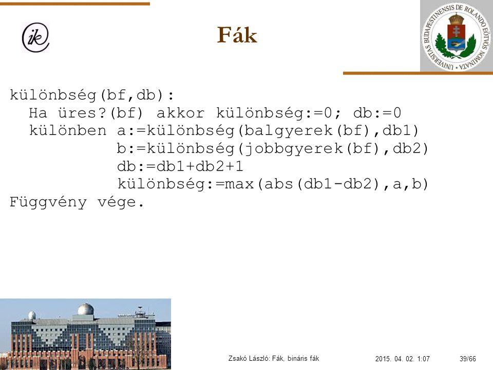 Fák Zsakó László: Fák, bináris fák különbség(bf,db): Ha üres?(bf) akkor különbség:=0; db:=0 különben a:=különbség(balgyerek(bf),db1) b:=különbség(jobb
