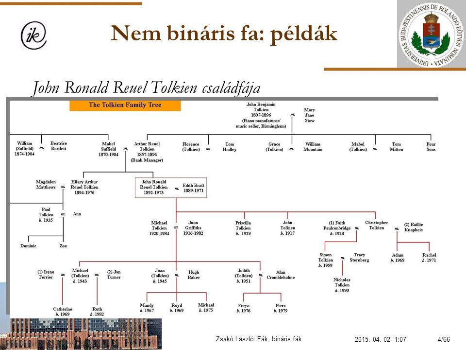 Nem bináris fa: példák Zsakó László: Fák, bináris fák John Ronald Reuel Tolkien családfája 2015. 04. 02. 1:094/66