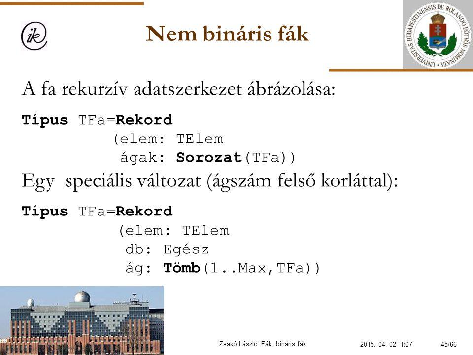Nem bináris fák Zsakó László: Fák, bináris fák A fa rekurzív adatszerkezet ábrázolása: Típus TFa=Rekord (elem: TElem ágak: Sorozat(TFa)) Egy speciális