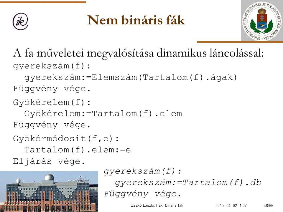 Nem bináris fák Zsakó László: Fák, bináris fák gyerekszám(f): gyerekszám:=Tartalom(f).db Függvény vége. A fa műveletei megvalósítása dinamikus láncolá