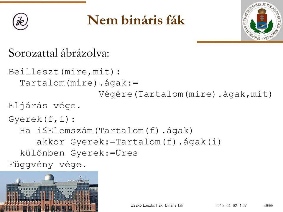 Nem bináris fák Zsakó László: Fák, bináris fák Sorozattal ábrázolva: Beilleszt(mire,mit): Tartalom(mire).ágak:= Végére(Tartalom(mire).ágak,mit) Eljárá