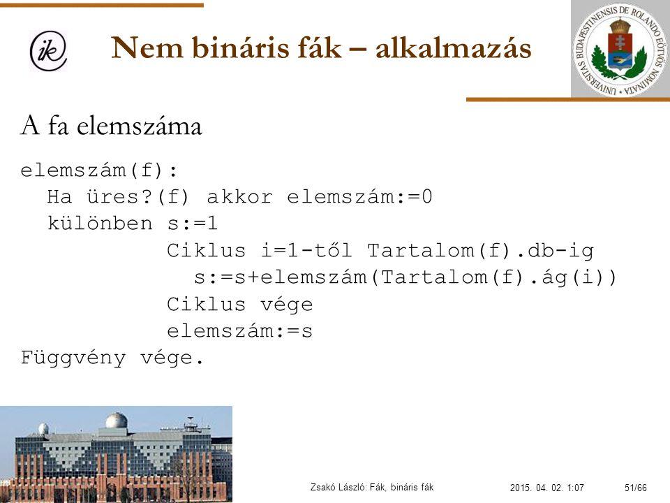 Nem bináris fák – alkalmazás Zsakó László: Fák, bináris fák A fa elemszáma elemszám(f): Ha üres?(f) akkor elemszám:=0 különben s:=1 Ciklus i=1-től Tar